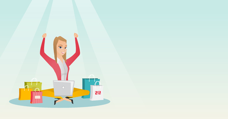 Caucasian woman using a laptop for online shopping Illustration