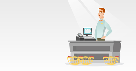 Cashier standing at the checkout in a supermarket. Ilustracja