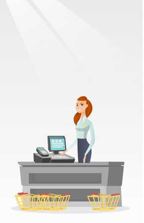 Cashier standing at the checkout in a supermarket. Illustration