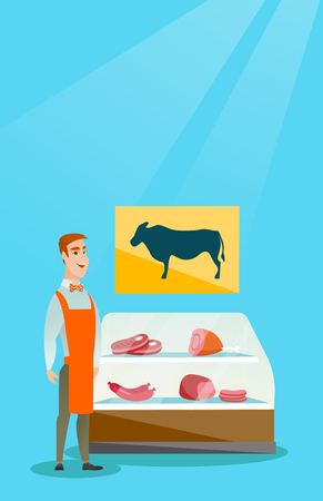Butcher offering fresh meat in the butcher shop. Ilustrace