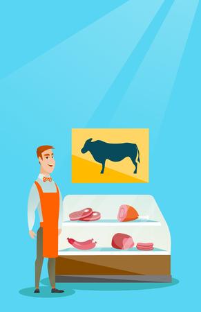 Butcher offering fresh meat in the butcher shop. Illustration