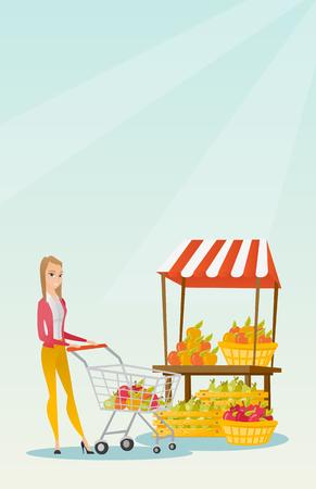 mujer en el supermercado: Young caucasian woman pushing a supermarket cart. Vectores