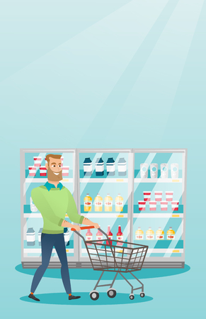 Young caucasian man with supermarket trolley. Illustration