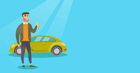 Man holding keys to his new car. Illustration