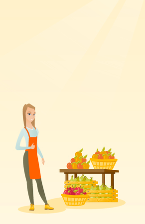 Young caucasian seller giving thumb up while standing on the background of shelves with vegetables and fruits. Seller selling fruits and vegetables. Vector flat design illustration. Vertical layout.