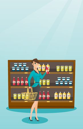 mujer en el supermercado: Young caucasian smiling woman holding shopping basket in one hand and bottle of sauce in another. Happy woman shopping in the supermarket with basket. Vector flat design illustration. Vertical layout.