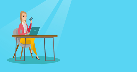 Caucasian woman sitting at the table with laptop and holding a credit card in hand. Woman using laptop for online shopping and paying by credit card. Vector flat design illustration. Horizontal layout Illustration