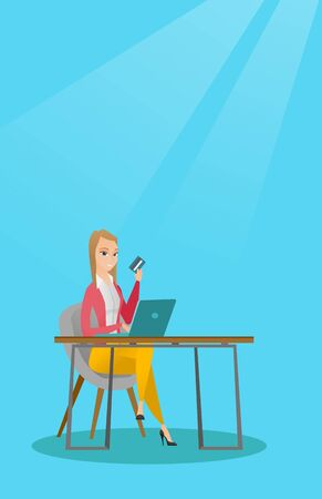 Caucasian woman sitting at the table with laptop and holding a credit card in hand. Woman using laptop for online shopping and paying by credit card. Vector flat design illustration. Vertical layout.