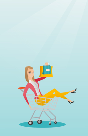 Young carefree woman having fun while riding in shopping trolley. Cheerful caucasian woman with a lot of shopping bags sitting in a shopping trolley. Vector flat design illustration. Vertical layout. Vectores