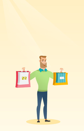 Young smiling caucasian man holding shopping bags. Happy hipster man with beard showing a lot of shopping bags with purchases. Vector flat design illustration. Vertical layout.