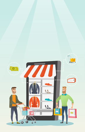 Caucasian men walking in the store that looks like a tablet computer. Young happy men doing online shopping. Hipster men using mobile shopping. Vector flat design illustration. Vertical layout. Illustration
