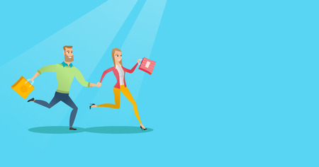 Young caucasian woman and man rushing to promotion and sale in the shop. Cheerful woman and man running in a hurry to the store on seasonal sale. Vector flat design illustration. Horizontal layout.