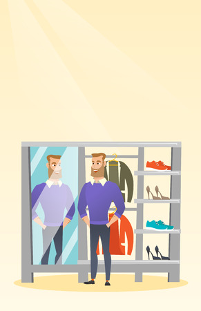 reflection in mirror: Caucasian man trying on sweater in a dressing room Illustration