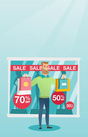 Young caucasian man shopping on sale. Illustration