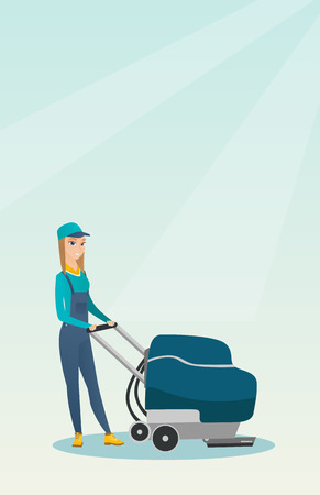 Woman cleaning the store floor with a machine. Illustration