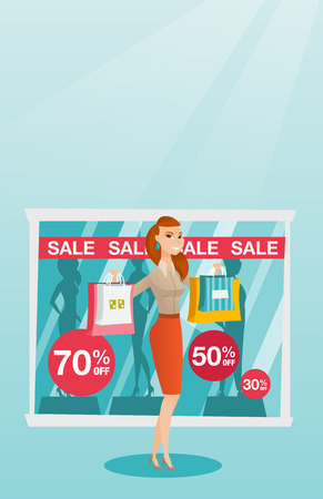 Young caucasian woman shopping on sale. Illustration