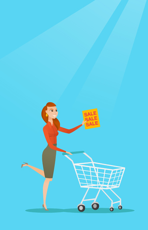 mujer en el supermercado: Caucasian woman running on big sale. Woman holding a paper sheet with sale text.