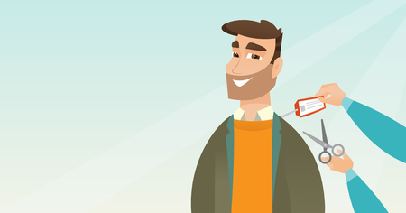 Young Caucasian cheerful man cutting a price tag off new jacket with scissors. Illustration