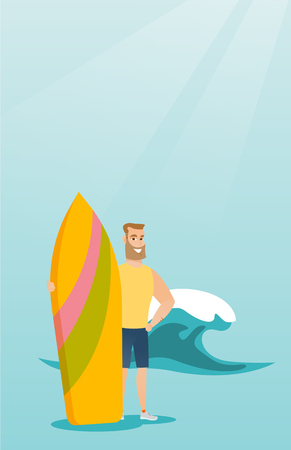 Young caucasian surfer holding a surfboard. Illustration
