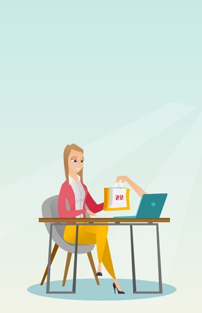 Caucasian woman getting shopping bags from laptop. Illustration