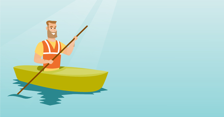Young caucasian traveler man traveling by kayak