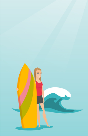 Caucasian woman standing with a surf board on the beach Ilustrace