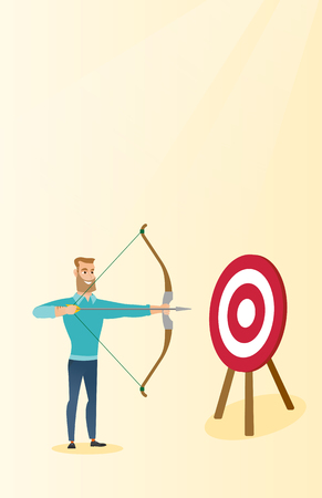bowman: Young caucasian bowman aiming with bow and arrow at the target