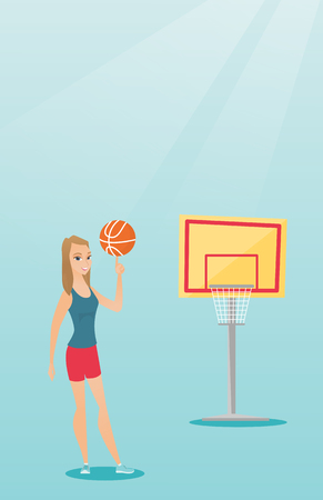 Young caucasian basketball player spinning a ball. Ilustrace