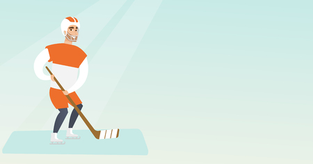 Young caucasian ice hockey player skating on the ice rink with a stick. Full length of smiling sportsman in uniform playing ice hockey. Vector flat design illustration. Horizontal layout.