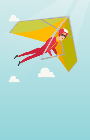 para: Young caucasian man flying on hang-glider.