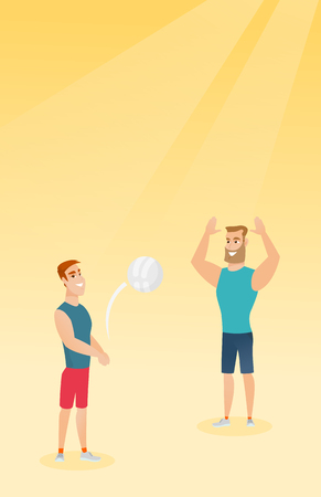 Two caucasian men playing beach volleyball. Stock Illustratie