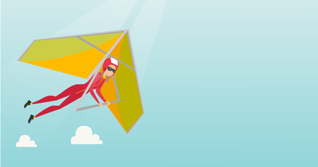 para: Young caucasian woman flying on hang-glider. Sportswoman taking part in hang gliding competitions. Woman having fun while gliding on deltaplane. Vector flat design illustration. Horizontal layout.