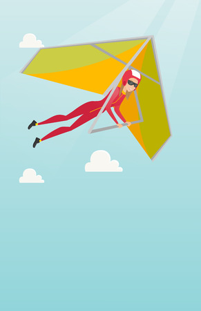 para: Young caucasian woman flying on hang-glider.