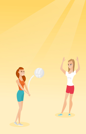 Two caucasian women playing beach volleyball. Ilustrace