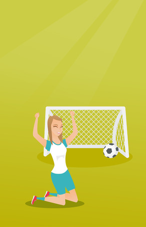soccer goal: Young caucasian soccer player celebrating a goal.