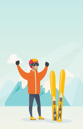 Jeune skieur caucasien debout avec les mains levées. Banque d'images - 81723347