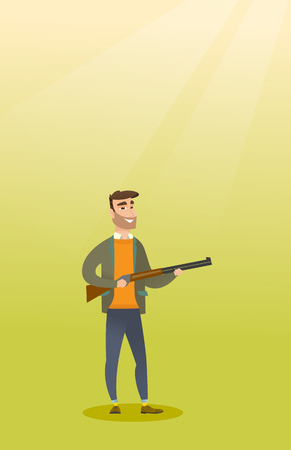 Young caucasian hunter holding a hunting rifle. Illustration