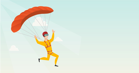 Caucasian skydiver flying with a parachute. Young happy skydiver descending with a parachute in the sky. Sport and leisure activity concept. Vector flat design illustration. Horizontal layout.