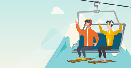 Caucasian skiers sitting on ski elevator with raised hands. Skiers using cableway at winter ski resort. Winter sport and leisure activity concept. Vector flat design illustration. Horizontal layout.