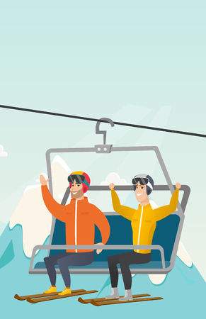 Caucasian skiers sitting on ski elevator with raised hands. Skiers using cableway at winter ski resort. Winter sport and leisure activity concept. Vector flat design illustration. Vertical layout.