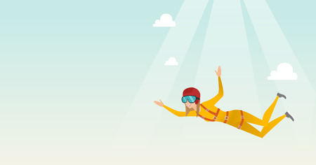 Caucasian parachutist jumping with a parachute. Professional parachutist falling through the air. Young woman flying with a parachute in the sky. Vector flat design illustration. Horizontal layout. Illustration
