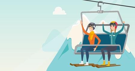 白人のスキーヤーがスキー エレベーター上げられた手の上に座っています。スキーヤーは冬のスキー場で索道を使用します。冬のスポーツやレジャ