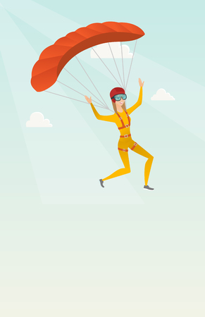 descending: Caucasian skydiver flying with a parachute. Young happy skydiver descending with a parachute in the sky. Sport and leisure activity concept. Vector flat design illustration. Vertical layout.