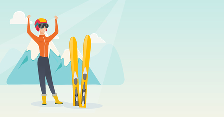 Young cheerful skier resting in the mountains during winter vacation. Illustration