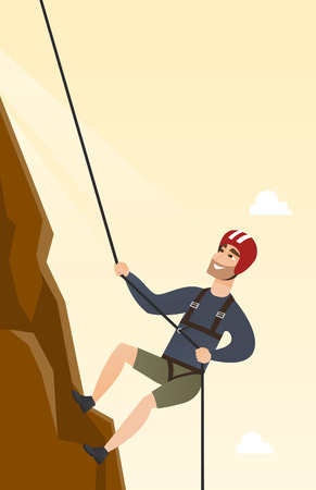 Young climber in protective helmet climbing a mountain. Caucasian smiling man climbing a mountain with a rope. Sport and leisure activity concept. Vector flat design illustration. Vertical layout.