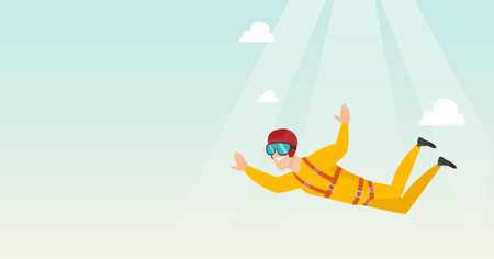Caucasian parachutist jumping with a parachute. Professional parachutist falling through the air. Happy young man flying with a parachute in the sky. Vector flat design illustration. Horizontal layout