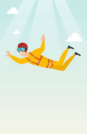 Caucasian parachutist jumping with a parachute. Professional parachutist falling through the air. Happy young man flying with a parachute in the sky. Vector flat design illustration. Vertical layout.