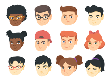 Vector set of kids angry emoji cartoons.