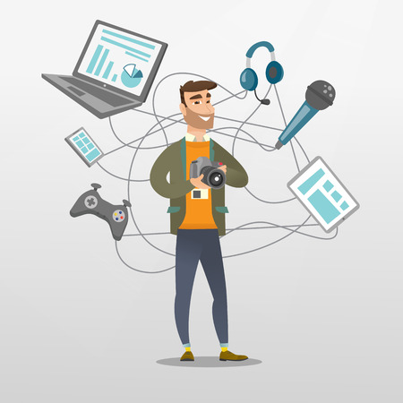 Young caucasian man taking photo with a digital camera. Man surrounded by his gadgets. Man using many electronic gadgets. Guy addicted to modern gadgets. Vector cartoon illustration. Square layout. Illustration