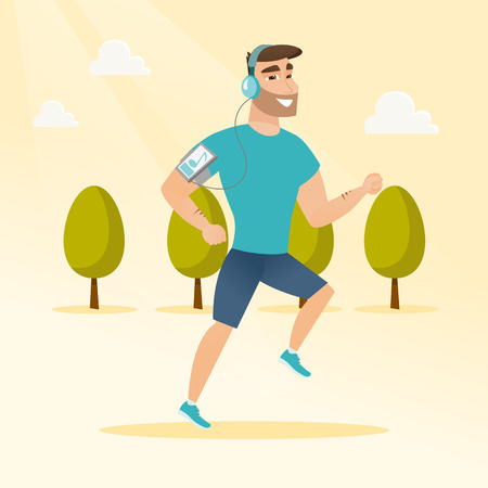Caucasian man running with earphones and armband for smartphone. Young man using smartphone with armband to listen to music while running in the park. Vector cartoon illustration. Square layout.